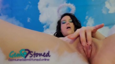 Brunette Angel Finger Fucks Her Dripping Wet Pumped Pussy and Squirts in the Clouds