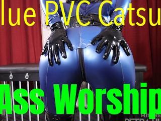Blue pvc catsuit...