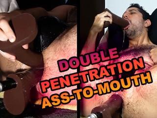 Double cock locked mouth slut needs...