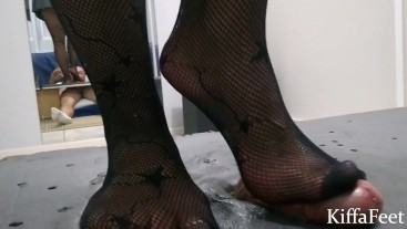 Goddess Kiffa High heels CBT on table compilation- 5 different Shoes Fishnet -CBT COCK CRUSH