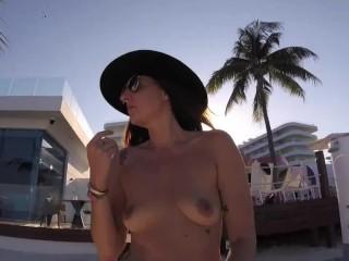 Topless milf takes walk naturals on full display...