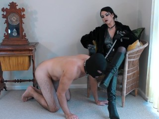 Boot worm Existence Preview – Femdom Mistress allows slave to Worship – Young Goddess Kim