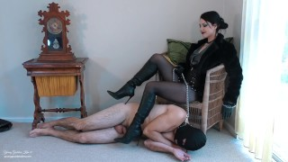 Boot worm Existence Preview - Femdom Mistress allows slave to Worship - Young Goddess Kim