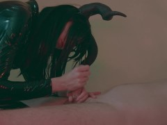 Halloween succubus handjob and milk tied up guy in the night with flashlight orgasm torture