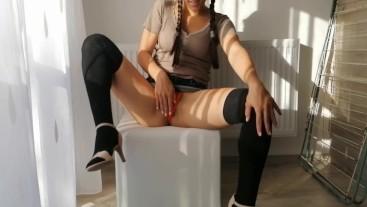 Hot schoolgirl is masturbating two times in denim mini skirt