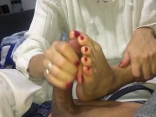 Hand and feet job in pijama CREAMPIE