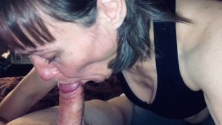 48 year old mature wife sucking off 28 year old friend. Granny love's giving head