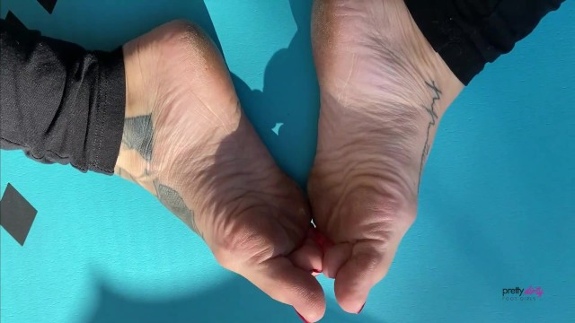 Sweaty Small Feet Foot Play On Yoga Mat Trailer 11