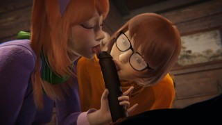 Scooby Doo - Velma and Daphne Halloween threesome - 3D Porn