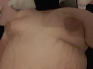 Busty BBW shaking big tits in bed