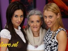 Naughty Grandma Having Fun with Her 2 Stepdaughters