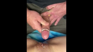 100 % Raw Video HPOV. My first triple cum shot orgasm all on wife's pussy that I lick up and swallow