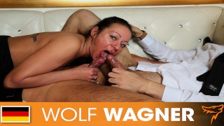 Two guys fuck the horny boss lady to keep their jobs! WOLF WAGNER