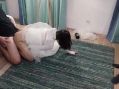 Creampie On Cuckold`s Cock.Condom Broke After Wedding
