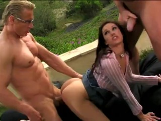Petite brunette college student out by two muscular...