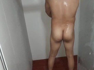 Booty amateur male taking a shower...