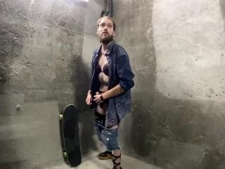 Crossdresser jerking off underground