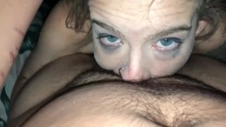 Slut gets fucked with dildo before shoving my cock in throat POV & eye contact