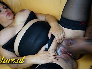 Busty Mother Squirting All Over the Couch with Her Pink Pussy