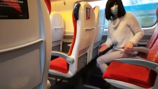 Screen Capture of Video Titled: Public dick flash in the train ended up with risky handjob and blowjob from a stranger. Got caught.
