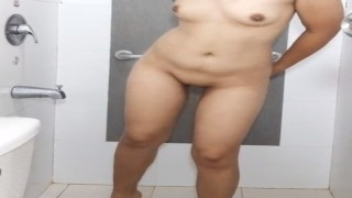 Chubby Pinay stepmom taking a shower