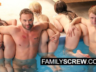 stepfamily Orgy at my stepcousin's Pool
