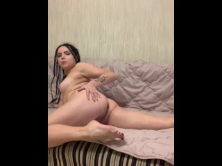 Tattooed russian brunette pigtails dancing naked and masturbating...