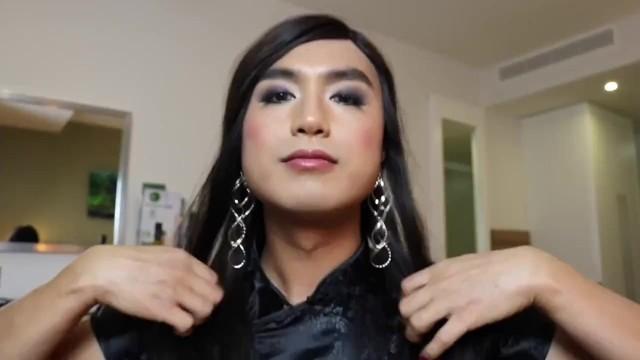 High class tgirl escort Alina Wang fucks through ripped pantyhose and cum on face - part 2 18