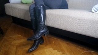 Leather Knee High Boots Shoeplay And Dangling Trailer