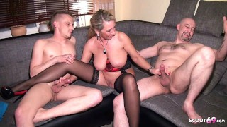 German Big natural Tits fuck Husband and Neigbour in Threesome
