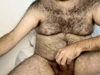 Jacking off my hairy hole with cumshot...