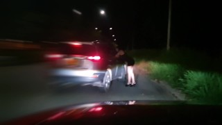 Screen Capture of Video Titled: I dress up as a whore of the night and a stranger pays me to fuck in his car
