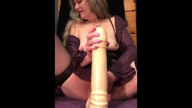 Sexy Mature Milf Fingers and Fucks Her Pussy Close Up Riding Huge Dildos Loud