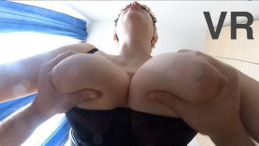 Submissive slut with big natural tits got 2 cowgirl orgasms 360 VR