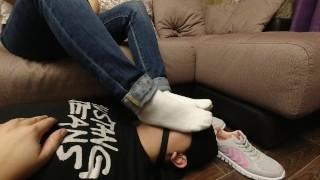 Femdome Slave gag stay on face white socks kiss feet mistress