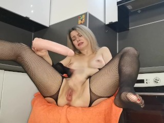 Stepmom JOI dirty talking you with a Blowjob and Squirts after a dildo ride