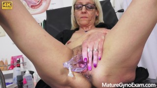 Blonde granny examined by freaky doctor