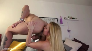 Spitting on hot blonde, rimming each other ass, cock riding creampie and piss play - Anthony Jones