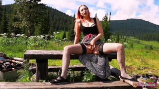 Teen redhead girl outdoor fingering pussy and orgasm   Public masturbation in nature