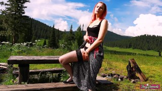 Teen redhead girl outdoor fingering pussy and orgasm | Public masturbation in nature