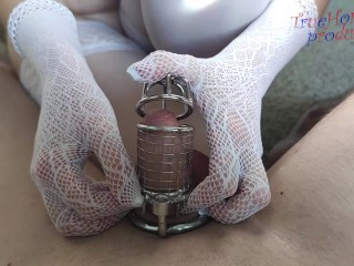 Chastity cage femdom domination by White Goddess Sanja 60FPS