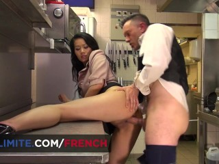 Gorgeous asian Fench brunette anal fucked in the bar's kitchen
