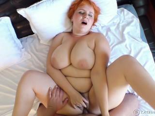 Curvy bbw boobs bush enjoys making love with...