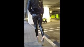Walking in public latex leggings and high heels PMV porn music video