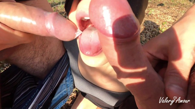 Horny Girl suck two cock outdoor, cuckold and voyeur. Dogging HD 4K