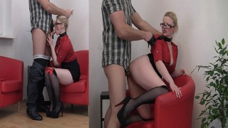 Submissive Blonde Secretary fucked hard | Choked - High Heels - Stockings - Cum in Mouth