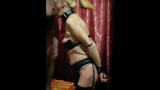 Tied up a sexy slave, put her on knees and fucked Hard in the mouth.