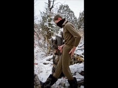 After an Evening Hike, the Guy Jerks off a Member in the Snowy Forest