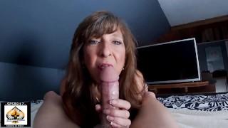 Sexy Granny Sucks Big Cock Shows Cum Mouth