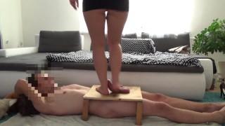Barefeet trampling on the feet on manhood - cockcrush footjob